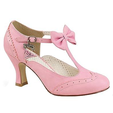 Pin Up Couture Damen T-Strap Spangen Pumps Flapper-11 pink