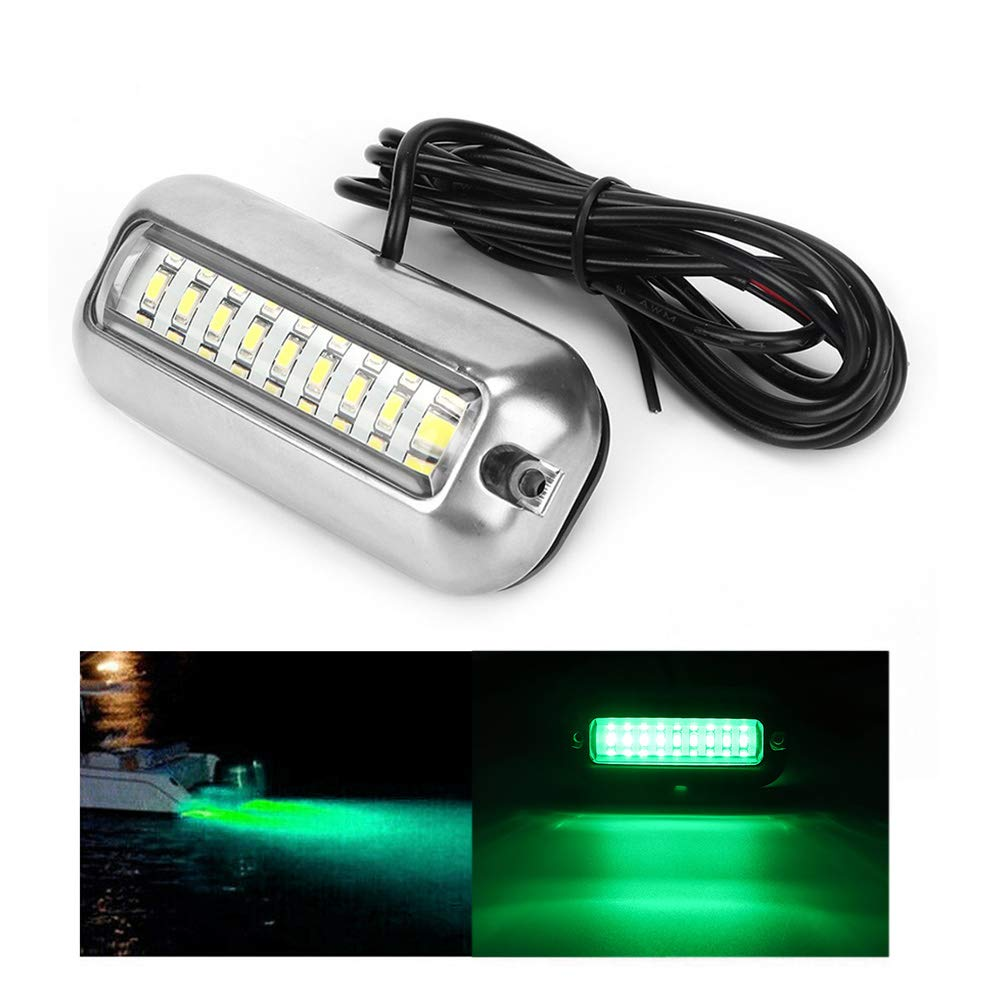 Yencoly Transom Light for Boat, Stainless Steel 27LED 50W DC12V Underwater Marine Yacht Stern Lamp Boat Transom Light High-Intensity LED Underwater Light(Green) by Yencoly