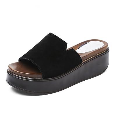 Sommer Lady Pantoffeln Mode Außerhalb Tragen High Heel Schuhe Skid Resistant Wasserdicht Plattform Cool MOP, Schwarz, 41 WXMDDN