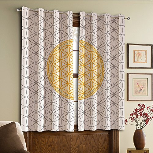 Custom design curtains/Vintage Lace Window Curtain/Grommet Top Blackout Curtains/Thermal Insulated Curtain For Bedroom And Kitchen-Set of 2 Panels(cor Interlace Circles of Time and Space Vortex Nat) - Interlace Panel