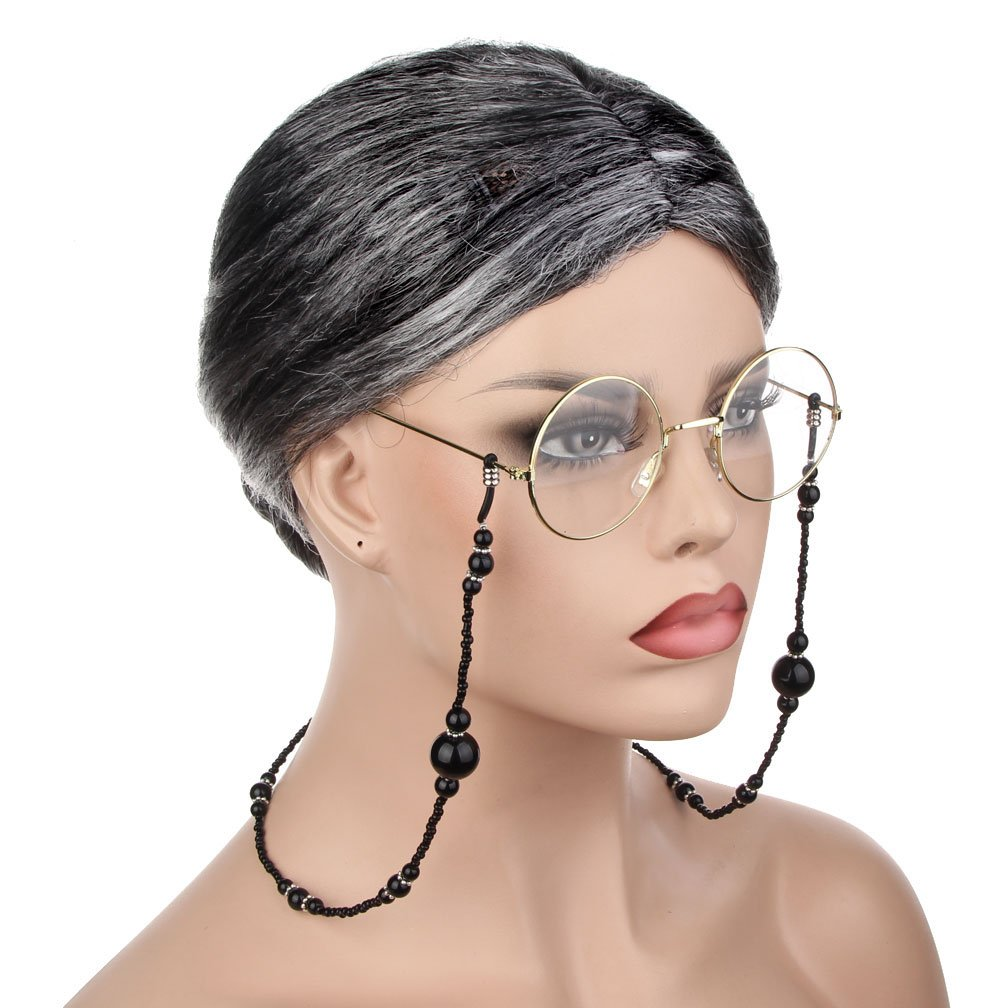 3 Pieces Old Lady Cosplay Costume Set Granny Wig Glasses Eyeglass Chains Strap Accessories