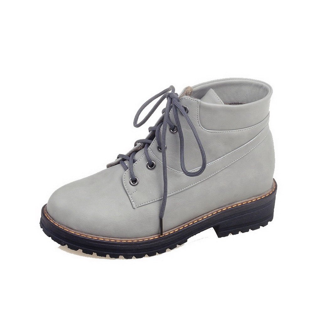 VogueZone009 Women's Lace-Up Low Heels Pu Solid Low Top Boots, Gray, 34