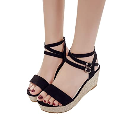 e542ae329 Sinwo Women Fish Mouth Platform High Heels Wedges Sandals Buckle Slope Sandals  Shoes (5