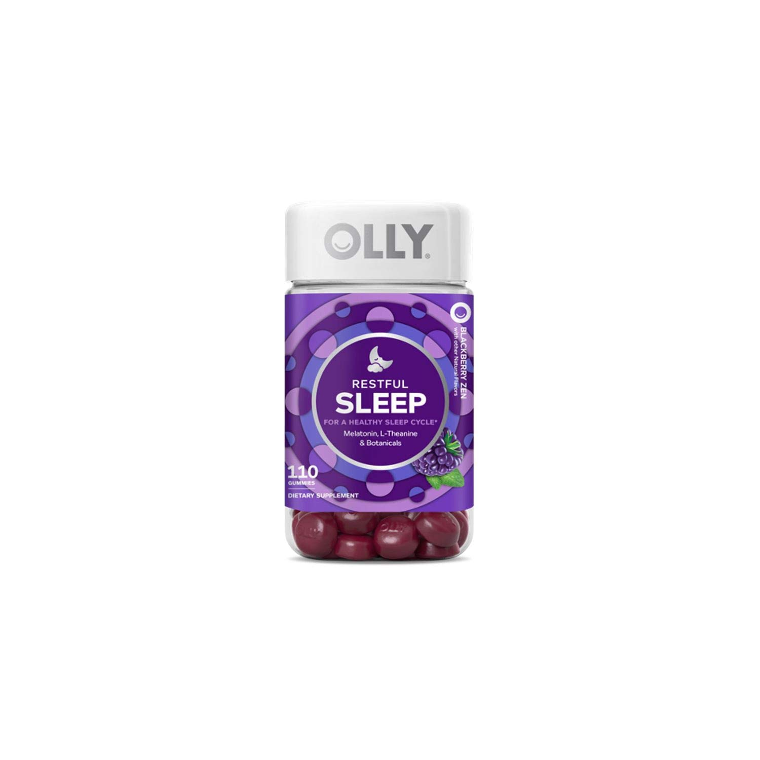 OLLY Restful Sleep Gummy Supplements, Blackberry Zen, GreatQuality 2Pack ( 100 Count Each )
