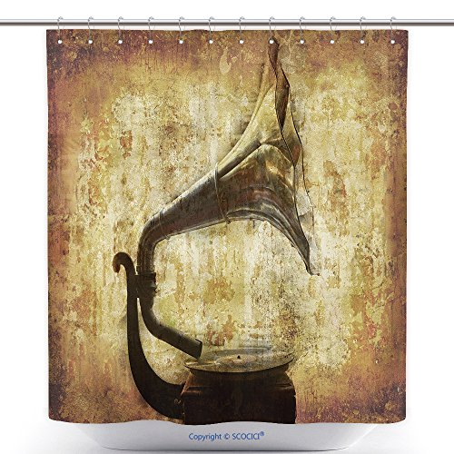 vanfan-Cool Shower Curtains Dream My Grandfathers First Gramophone RPM  Records More My Images Worked Together to Polyester Bathroom Shower Curtain  Set