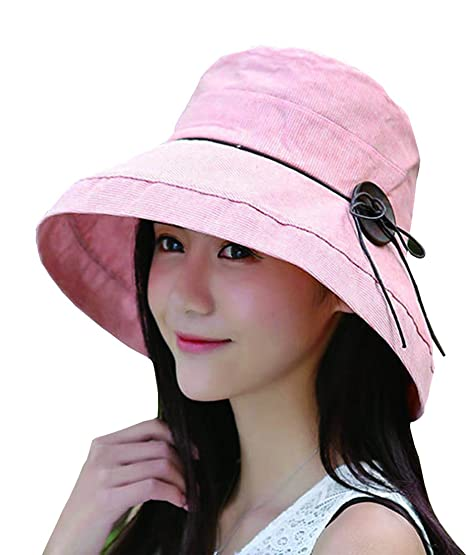 1c9ea2199055b OLEWELL Women s Summer Sun Beach Floppy Hat UPF 50+ Foldable Wide Brim Cap  Fabric Pink