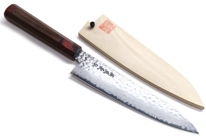 YOSHIHIRO NSW 46 layers Hammered Damascus Gyuto Japanese Chefs Knife 8.25 inch(210mm) Shitan Handle with Magnolia Saya Cover by Yoshihiro