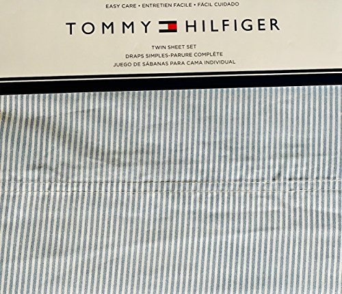 Tommy Hilfiger 3 Piece Twin Size Sheet Set Ithaca Thin Blue White Oxford Stripes ()