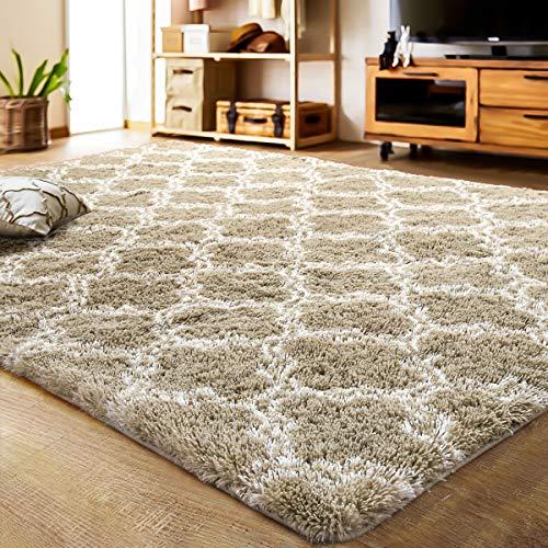 LOCHAS Luxury Velvet Shag Area Rug Mordern Indoor Plush Fluffy Rugs, Extra Soft and Comfy Carpet, Geometric Moroccan Rugs for Bedroom Living Room Girls Kids (5x8 Feet, Beige/White, HS3)