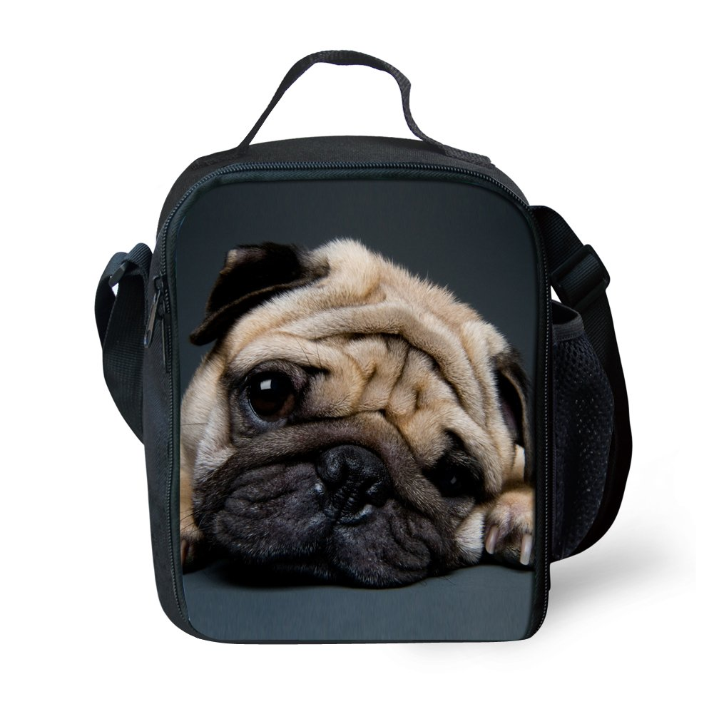 Reusable Lunch Bags Cute Pet Pug Print Lunch Box For Kids Women Cool Warm Pouch Shoulder Strap Lunch Holder