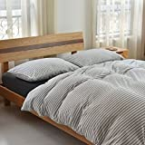 Beauty Decor Classic Duvet Cover Set Black White Stripe Bedding Sets Lightweight Microfiber Comforter Cover with Pillow Shams, Full