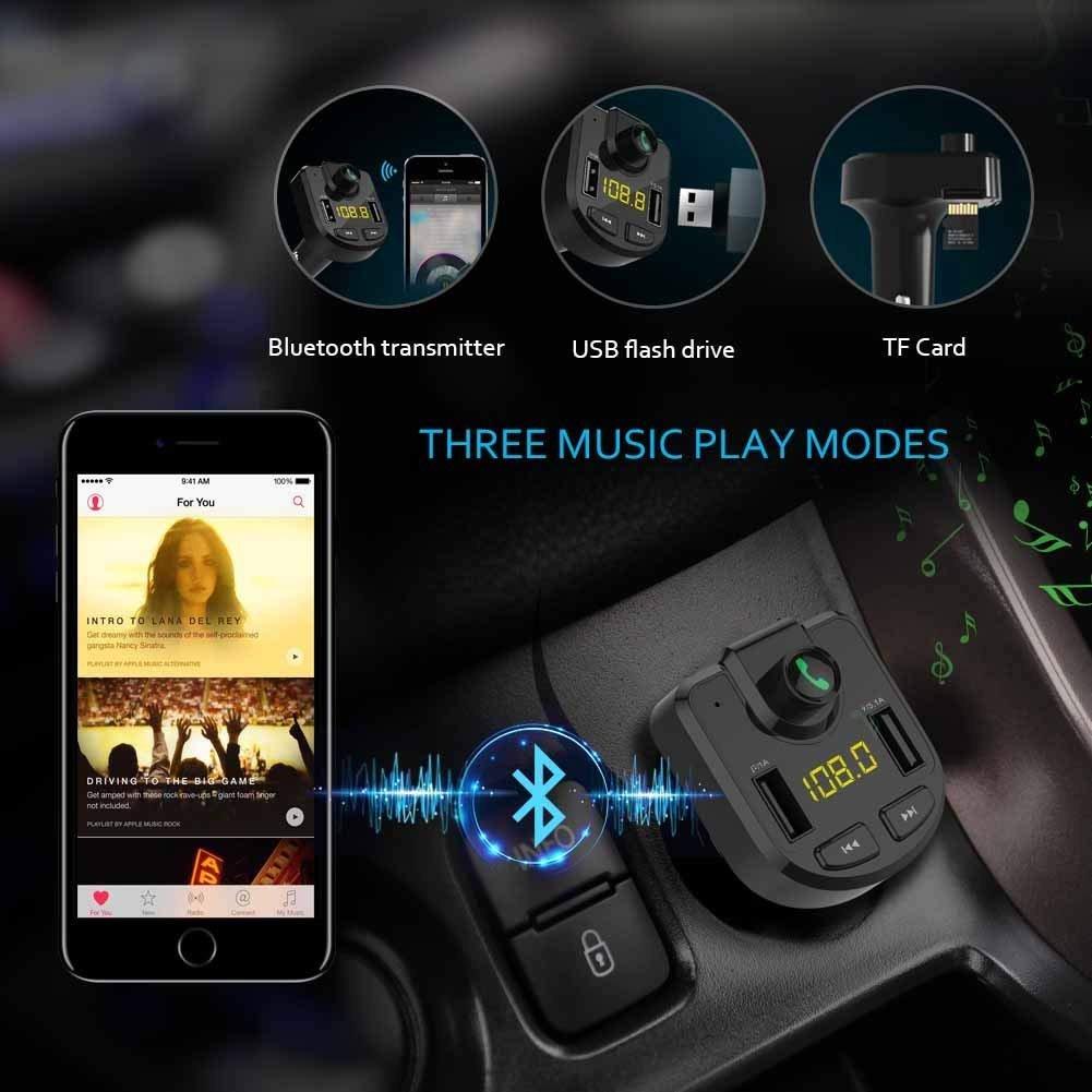 caricatore doppia porta USB Bluetooth adattatore In-Car Trasmettitore Radio con vivavoce Neverstop Trasmettitore FM Bluetooth per auto