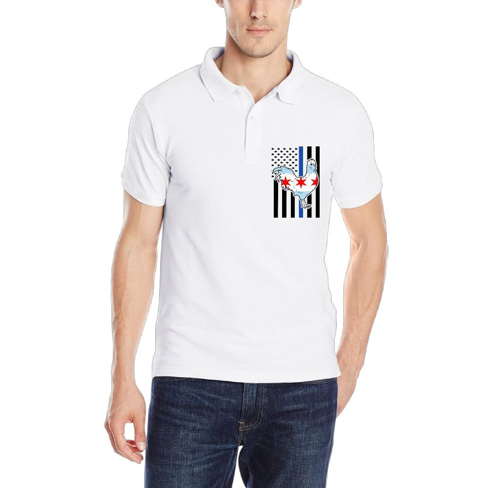 Chicago Flag Rooster Blue Thin Line Flag Mens Short-Sleeve Polo Sport Shirt