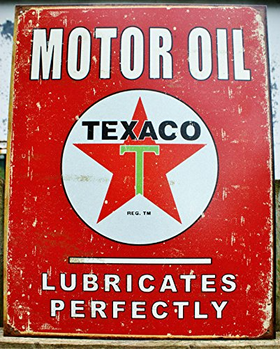 Texaco Motor Oil Lubricates Perfectly Distressed Retro Vintage Tin Sign (Pump Gas Signs)