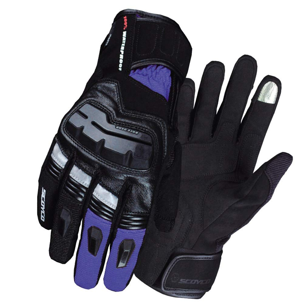 AINIYF Full Finger Motorcycle Gloves | Winter Outdoor Sports Smart Gloves Waterproof Touch Screen For Cold And Warm (Color : Purple) by AINIYF (Image #1)