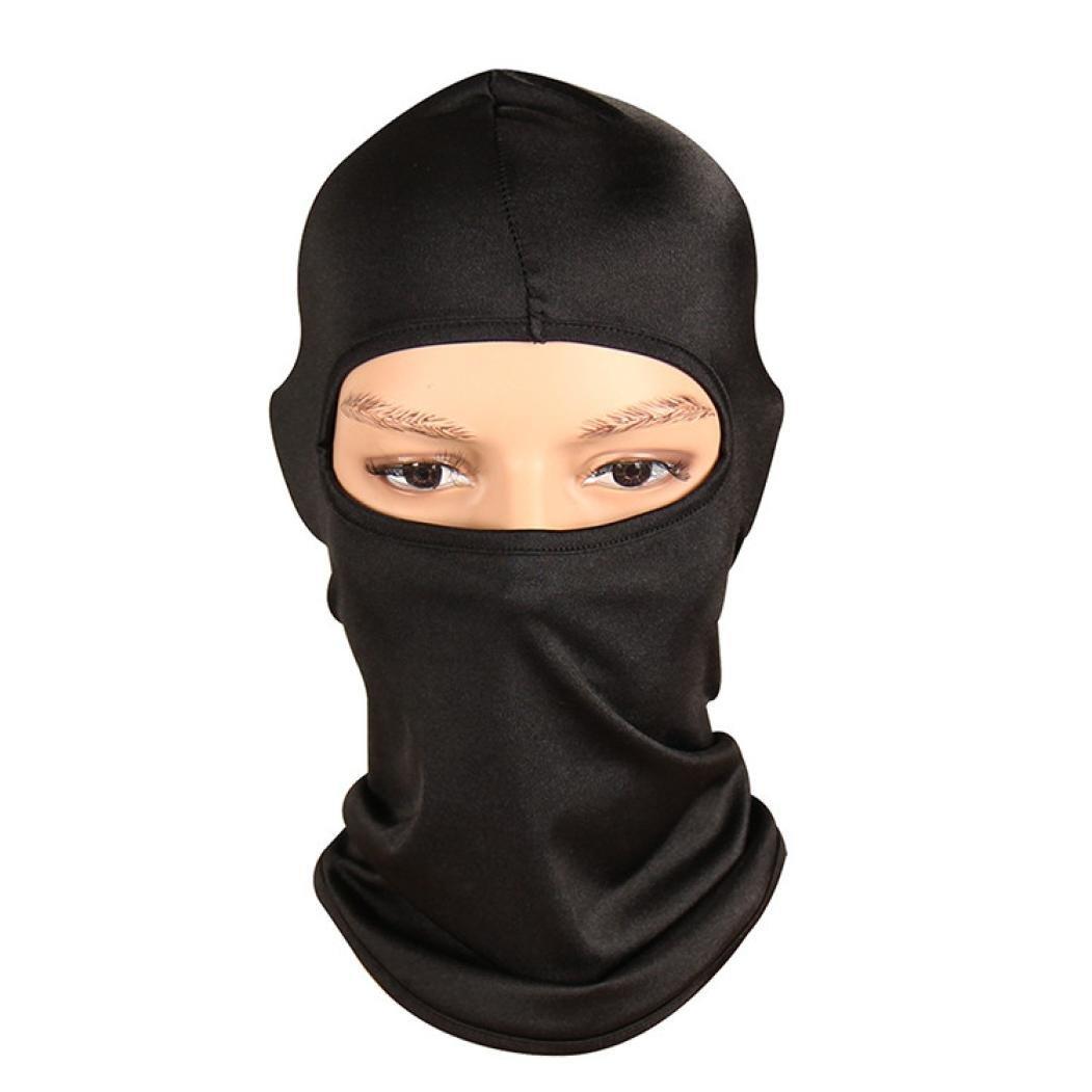 Unisex Balaclava Helmet, Bolayu Neck Ultra Thin Outdoor Ski Motorcycle Cycling Balaclava Full Face Mask (Black)
