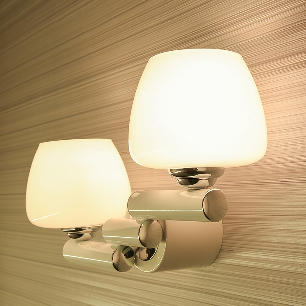 Einfache Moderne Kreative Schlafzimmerstudie Nachttischlampe Der Wohnzimmerwandlampe Führte Schmiedeeisen Fernsehhintergrund-Wandlampe (Farbe   Double Head)(Lt Keine Lichtquelle)