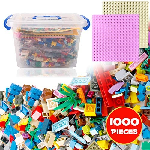 Liberty Imports Bucket of Mini Building Bricks Playset with Base Plates, 16 Color Classic and Pastel Mix Blocks Set in Carrying Case, Tight Fit and Compatible with All Major Brands (1000 Pieces)