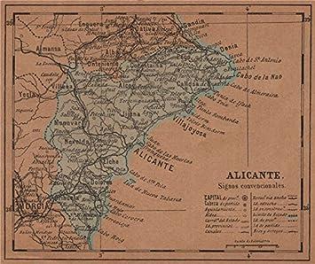 Alicante. Alacant. comunitat/Comunidad Valenciana. Mapa Antiguo Provincia – 1905 – Old Antiguo Mapa Vintage – Mapas de Impreso de España: Amazon.es: Hogar