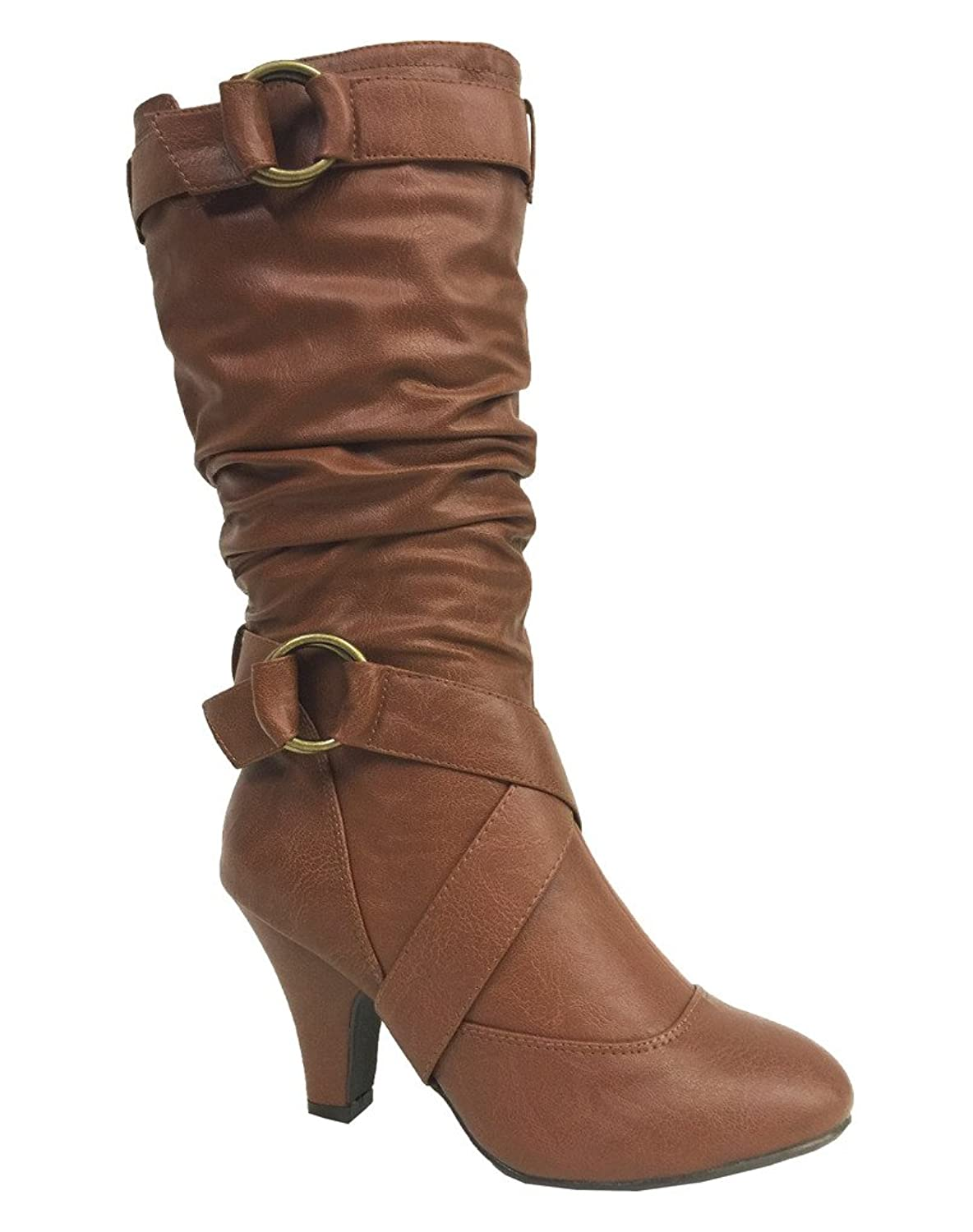 YATES! Women's Delicious Slouchy Knee High Mid Heeled Tall Boots in Cognac Leatherette