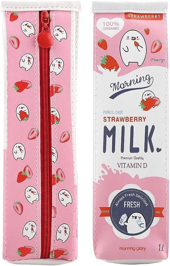 Bolsa de papelería de leche de dibujos animados, bolsa de almacenamiento de gran capacidad(Rosado): Amazon.es: Hogar