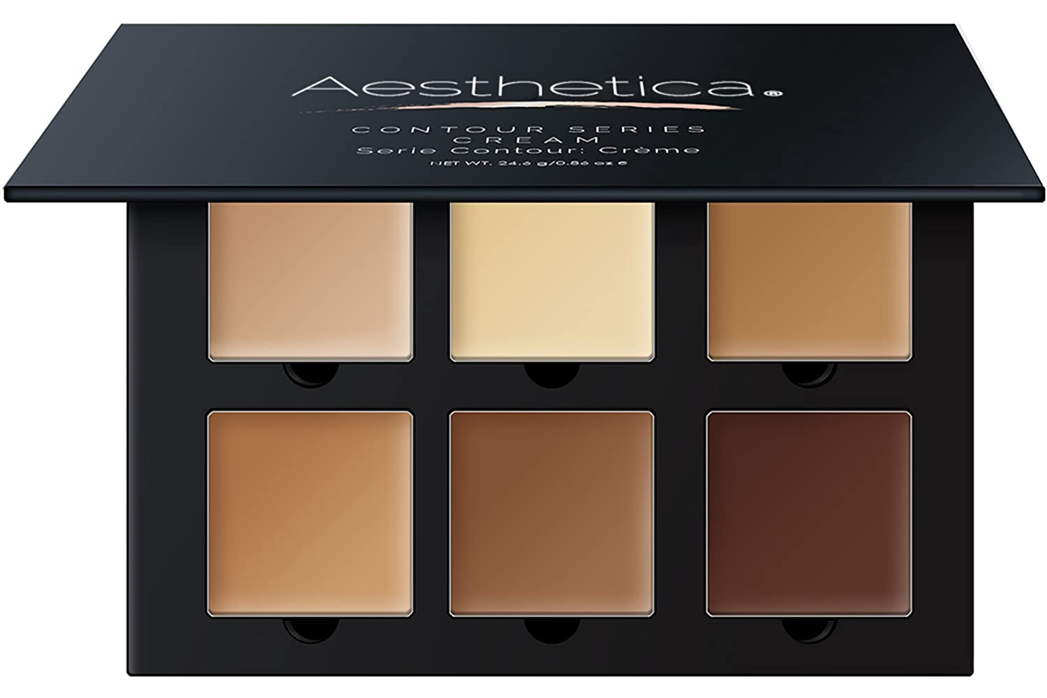 Aesthetica Cosmetics Cream Contour and Highlighting Makeup Kit - Contouring Foundation / Concealer Palette - Vegan, Cruelty Free & Hypoallergenic - Step-by-Step Instructions Included AE110-CREAM