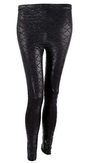 1757b8060ddcc1 Ayliss New Mermaid Fish Scale Printed Leggings Stretch Tight Pants,Black S