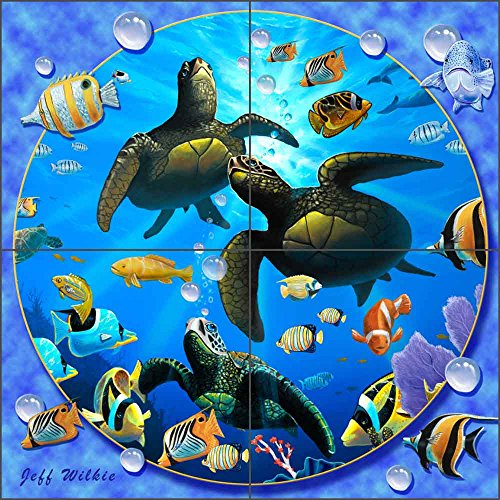 - Sea Turtle Art Tile Mural Backsplash Honu Paradise II by Jeff Wilkie Ceramic Kitchen Shower Bathroom (12