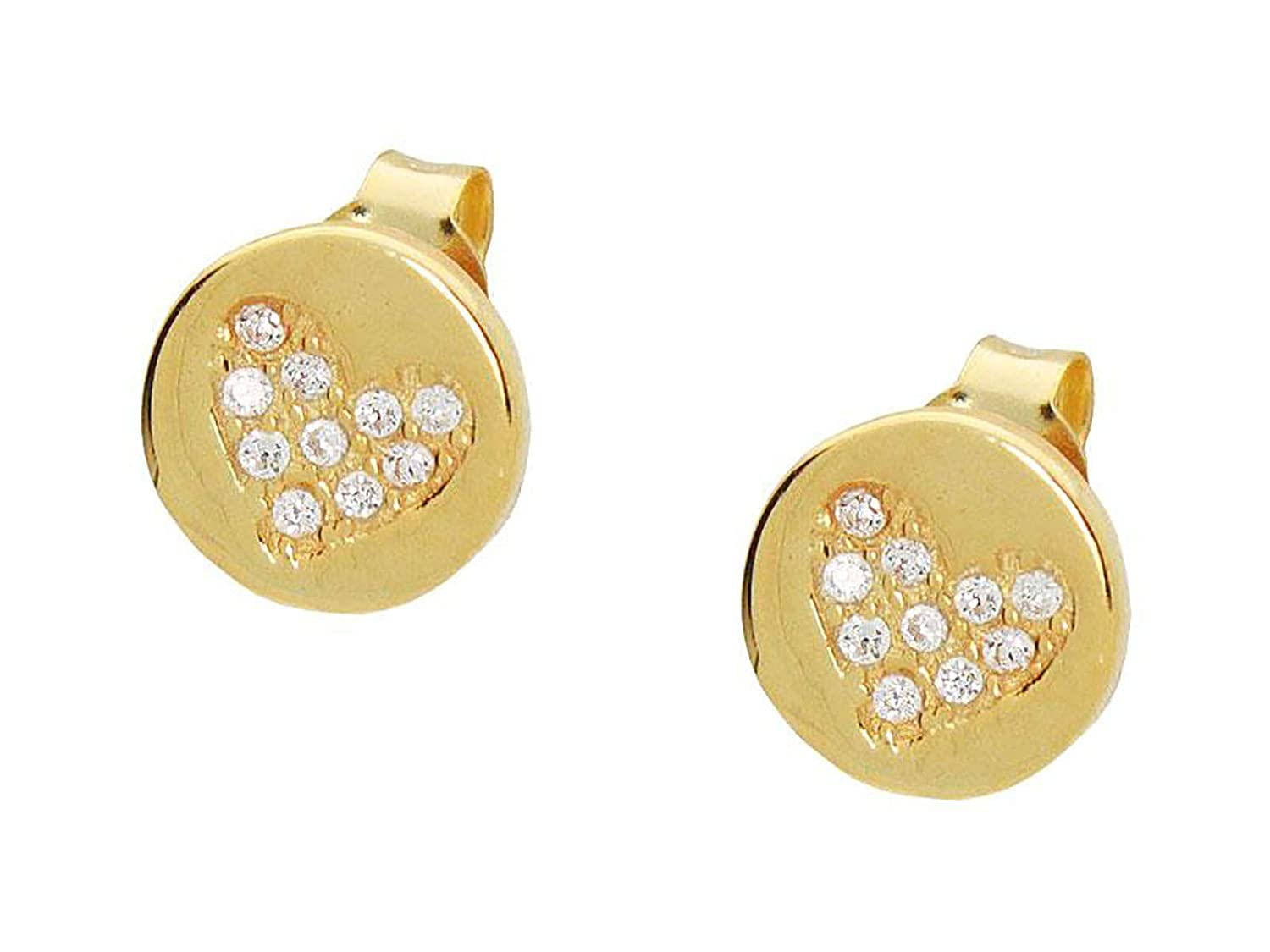 Teenagers Yellow Gold Plated Sterling Silver Round Heart Studs Earrings for Girls