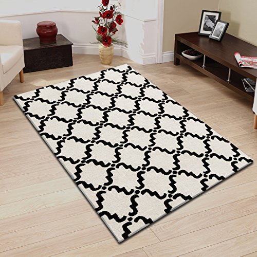- Superior Moroccan Lattice Wool Rug, 100% Wool Pile with Cotton Backing, Hand Hooked & Hand Tufted Luxury Rug, Geometric Trellis Pattern - Ivory & Chocolate, 5' x 8'