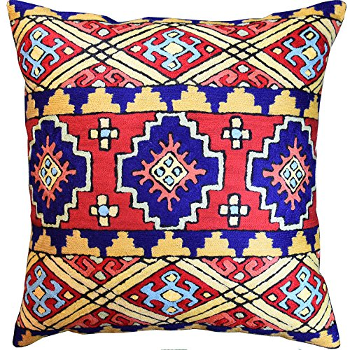 Kashmir Designs Navajo Tribal Kilim Aztec Scorpion Accent Pillow Cover Southwestern Wool 18x18 Old Kilim Pillow