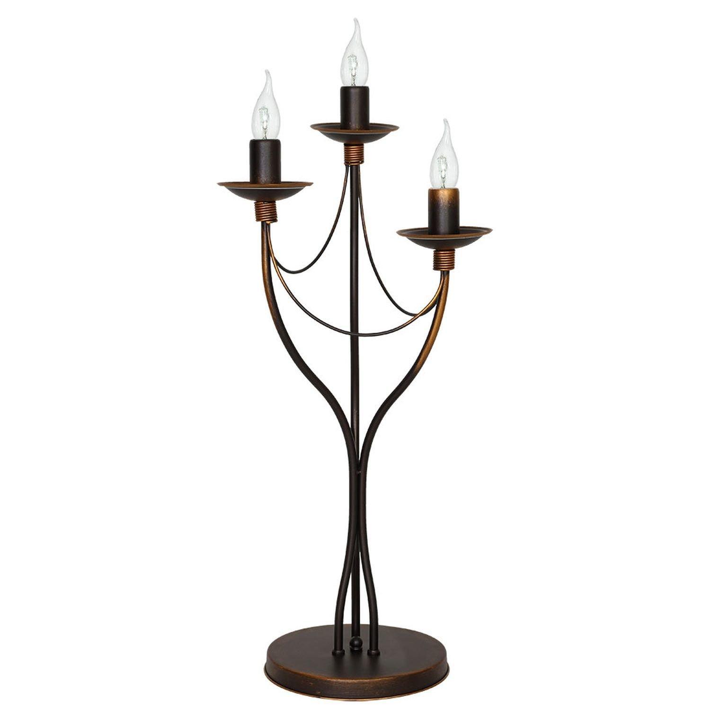 Tischlampe Shabby Beleuchtung Braun Metall Rustikal Kerzenhalter Stil Leuchte Tisch Wohnzimmer
