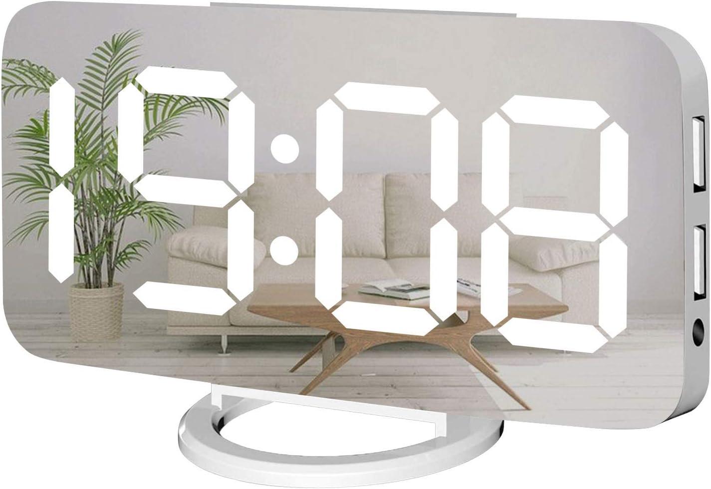 Miowachi Digital Alarm Clock,Large Mirrored LED Clock,Snooze,Dim Night Light 2 USB Charger Ports Desk Alarm Clocks for Bedroom Decor (White)