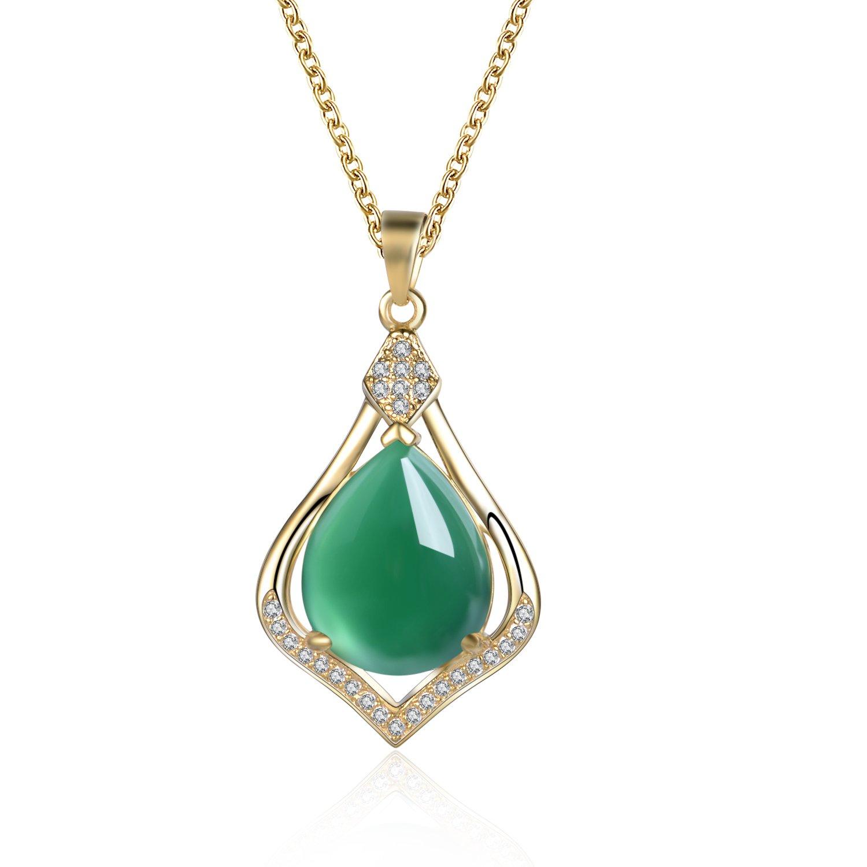 Collier en argent sterling 925pour femme avec chaîne de 45, 7cm et pendentif en jade vert fin Kingwin N4008-S