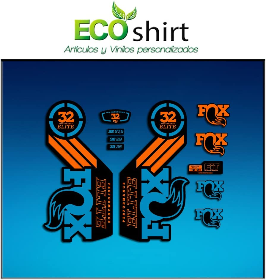Ecoshirt I1-IDHM-RR69 Stickers Fork Fox 32 Performance Elite 2016 Am100 Aufkleber Decals Autocollants Adesivi Forcela Gabel Fourche Blue Orange