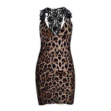 Camisones sexys Mujer Leopardo ❤️Absolute Camisón de Leopardo con Cuello de Pico para Mujer Ropa Interior Atractiva del Estilo del Club Nocturno de Mujer ...