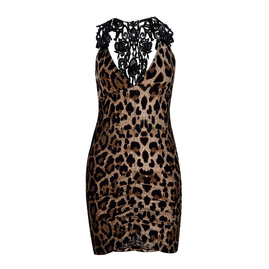 Winsummer Charming Charmeuse Print Chemise Underwear Women's Leopard Print V Neck Bodycon Mini Dress Lingerie Coffee by Winsummer (Image #3)