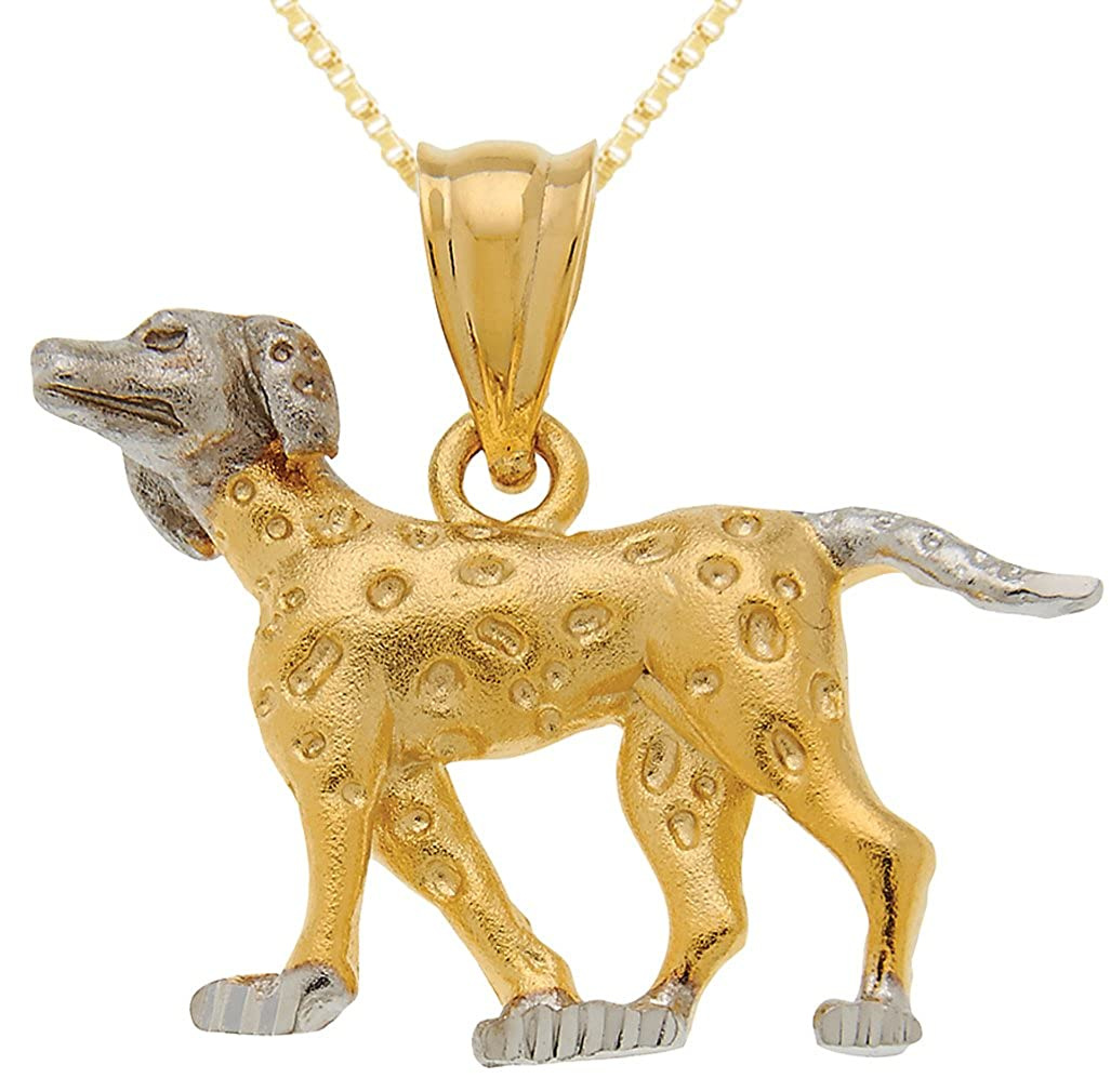 US Jewels And Gems 0.925 Sterling Silver /& Gold Plated Dalmatian Pendant Box Gold Filled Chain Necklace