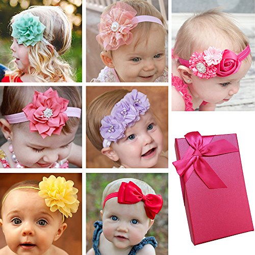 Price comparison product image Elesa Miracle Baby Hair Accessories Baby Girl's Gift Box with Bow Flower Hair Headband (7pc- different style)