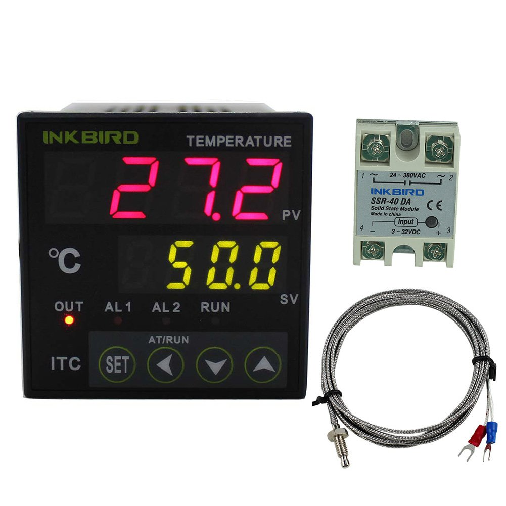 Inkbird PID Temperature Controller with Relay DIN 1/16 ITC-100 (ITC-100VH+40A SSR+ K sensor)
