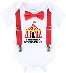 efce57ce7 Noah s Boytique Circus First Birthday Outfit with Tent Bow Tie and  Suspenders