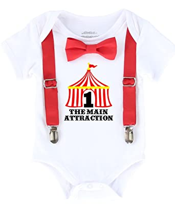 Noahs Boytique Circus First Birthday Outfit Boy With Tent Number One Red Suspenders And Bow