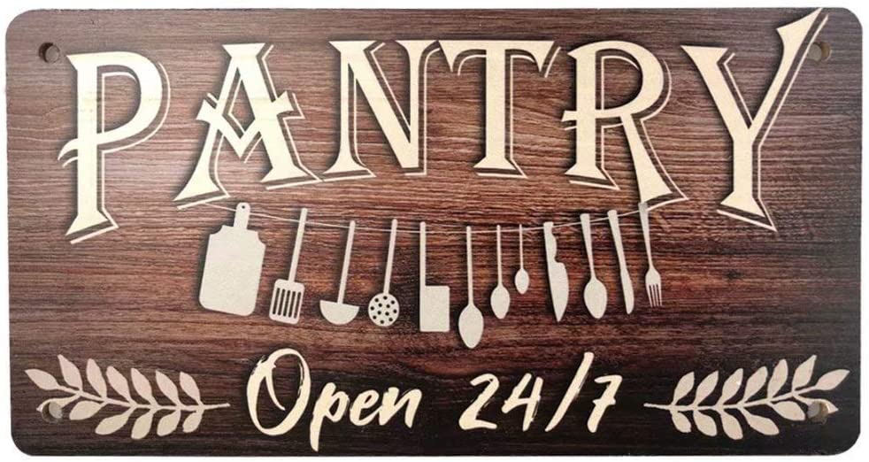 Retro Wood Plaque Sign Pantry Open 24/7 Vintage Style Hanging Wall Art Sign Decor for Home Kitchen Bar Workshop Coffee 10'' x 5''