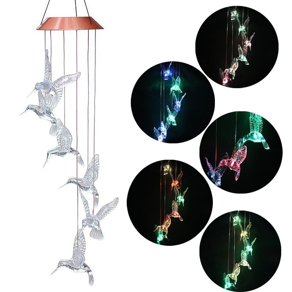 BALANSOHO Solar Mobile Wind Chimes 6 Birds Color-Changing Waterproof LED Hanging Lamp Night Lights for Outdoor Gardening Home Decoration (Birds Clear)