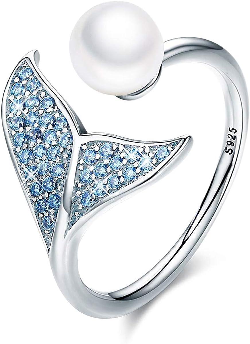 Anillo de plata de ley 925 para mujer, diseño de cola de delfín con circonita cúbica azul y perla