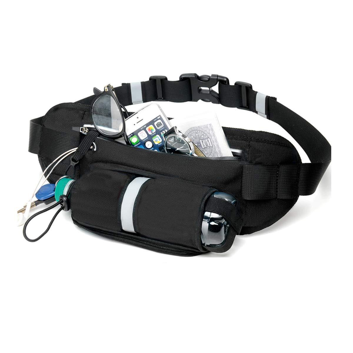 Vohoney Running Belt Waist Fanny Pack Travel Waist Bag Hiking Waist Pack Phone Belt Bag Sport Bum Bag with Water Bottle Holder for Men and Women