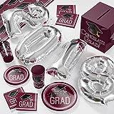 2018 Graduation School Spirit Burgundy Red Deluxe Party Supplies Kit