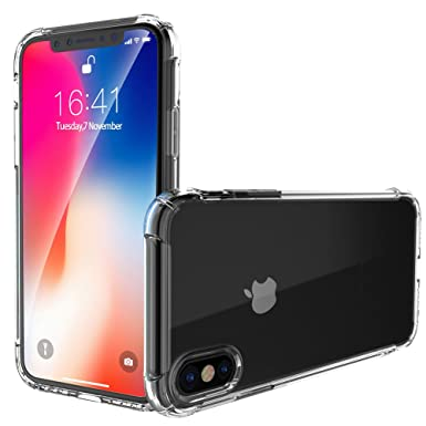 the latest c7a6d 1259e iPhone Xs Case, iPhone X Case, Garegce Clear Shockproof Bumper Case  With[Glass Screen Protector]Soft TPU Silicone Case Cover[Drop  Protection]Crystal ...