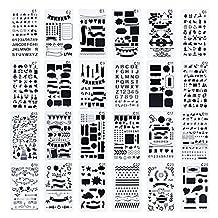 24 Pieces Bullet Journal Stencil Set - Plastic Planner Stencils DIY Drawing Template Stencil for Journal/Diary/Calendar/Planner/Scrapbook, 4x7 Inch