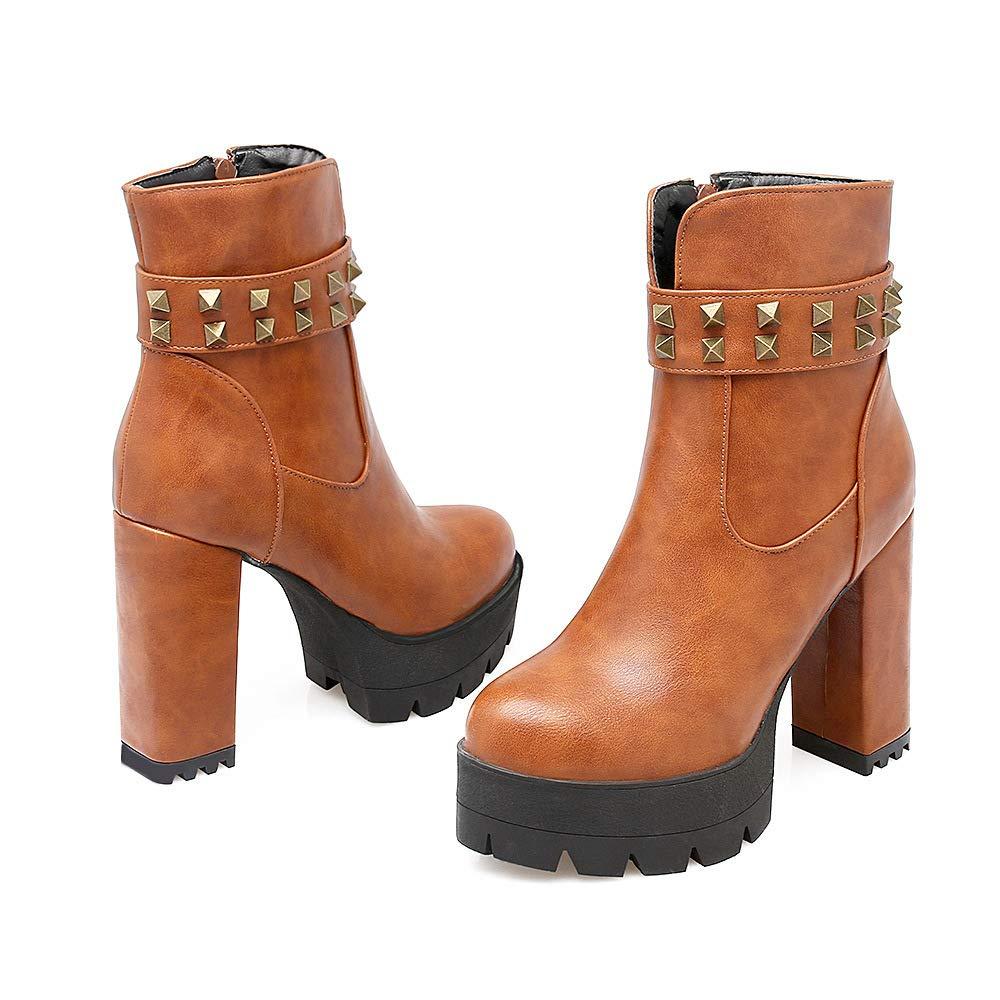 QINGMM Frauen Stiefeletten 2018 Herbst Winter Mode Mode Mode Nieten Super High Heel Plattform Martin Stiefel Größe 32-43 81adf6